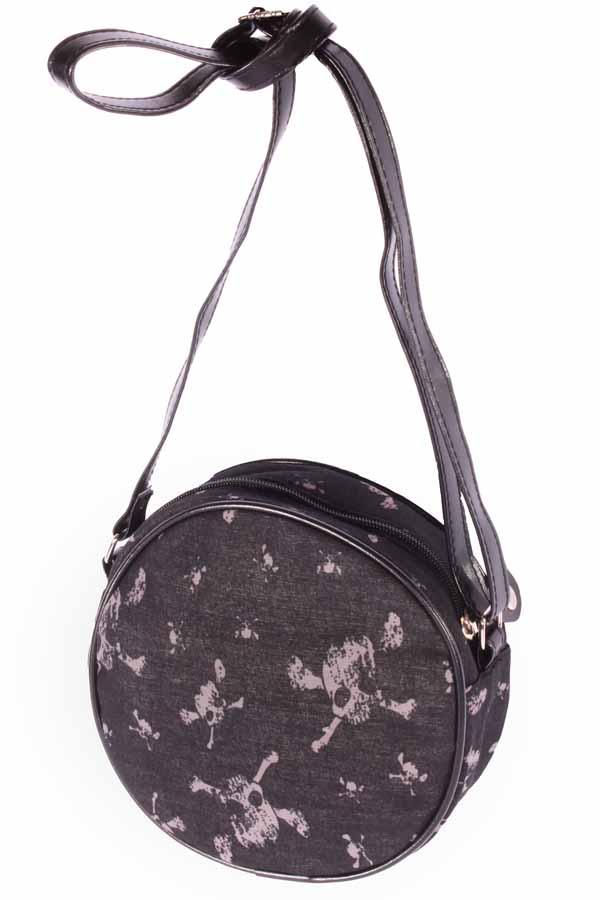 Totenkopf rockabilly Skull Mini Purse Handtasche Round Bag Abendtasche