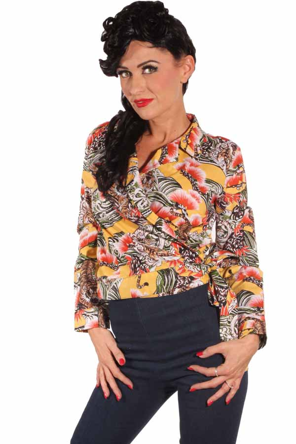 Tiger pin up retro rockabilly langarm Wickel Bluse Kurzbluse