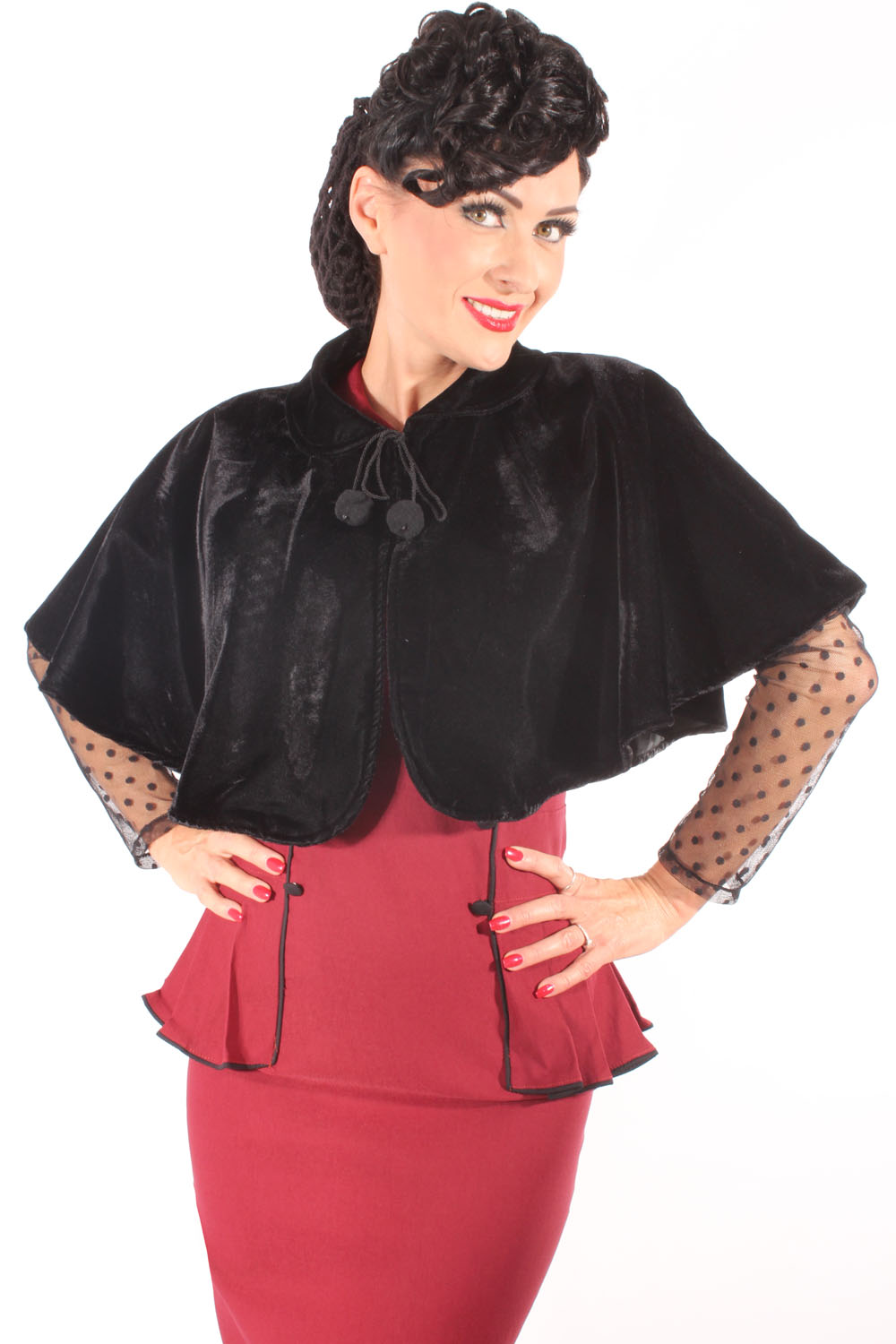 50s Style retro rockabilly Samt Cape Samtcape Umhang Shrug schwarz