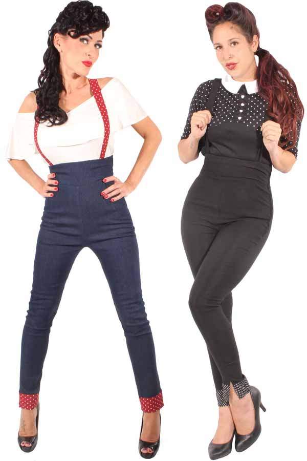 Retro Rockabilly Polka Dots Zigarette Hose Hosenträger Skinny Jeans