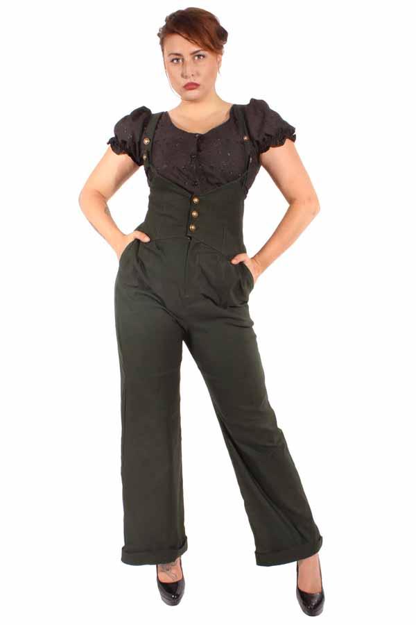 40s Retro rockabilly Hosenträger Marlene Uniform Hose oliv