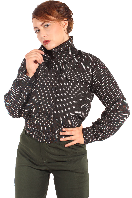 retro Polka Dots rockabilly Blouson Jacke Übergangsjacke Kurzjacke schwarz