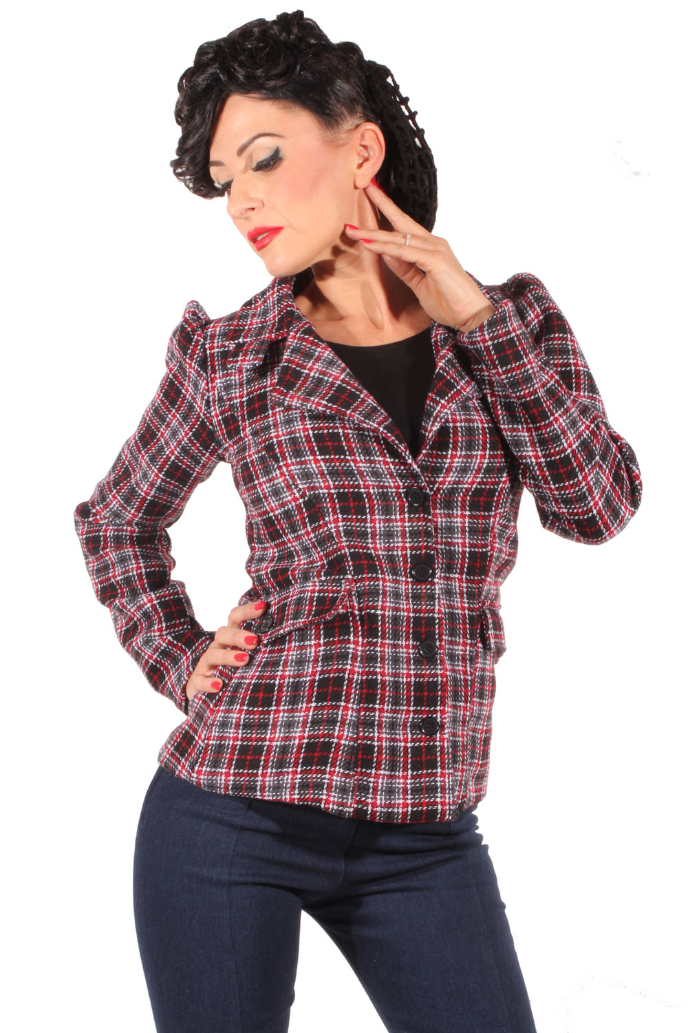 retro Tweed Wolle rockabilly Tartan Blazer Karo Kostüm Jacke Plaid