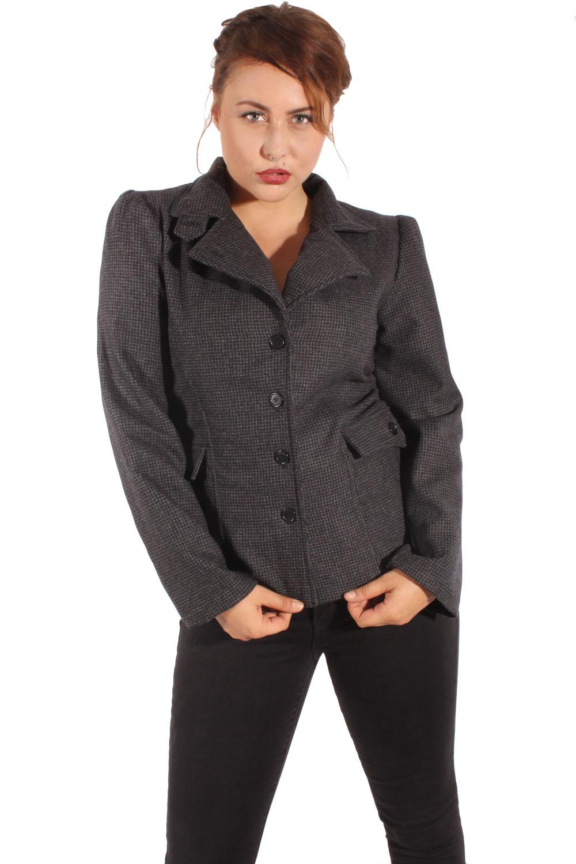 retro Pepita Wolle rockabilly Karo Blazer Karo Kostüm Jacke grau/sw