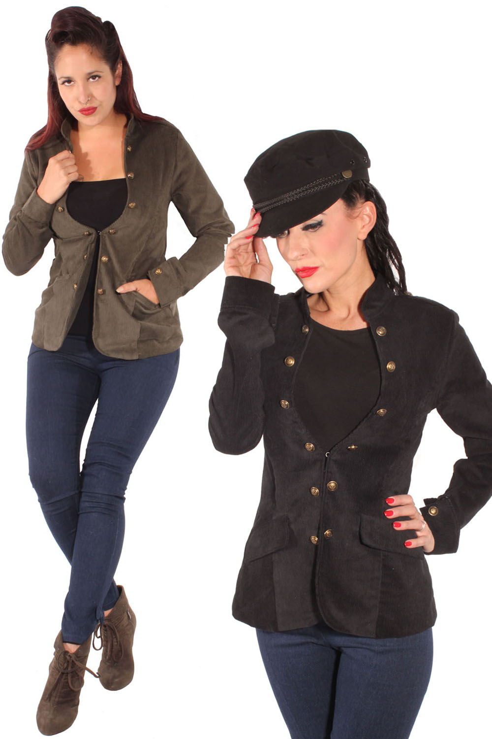 retro Military rockabilly Uniform Blazer Jacke Cordjacke Cordblazer