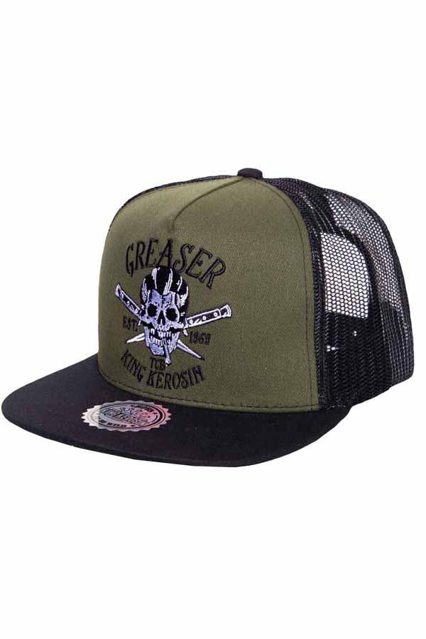 King Kerosin Baseballcap Greaser Baseball Skull Trucker Snapback Cap