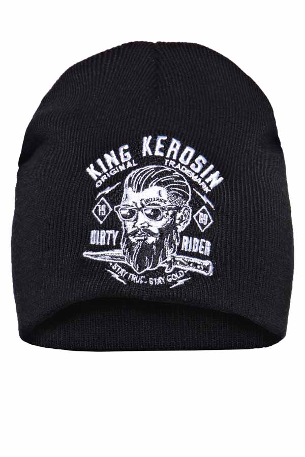 King Kerosin Mütze Strickmütze Stickerei Dirty Rider Rockabilly Biker Beanie
