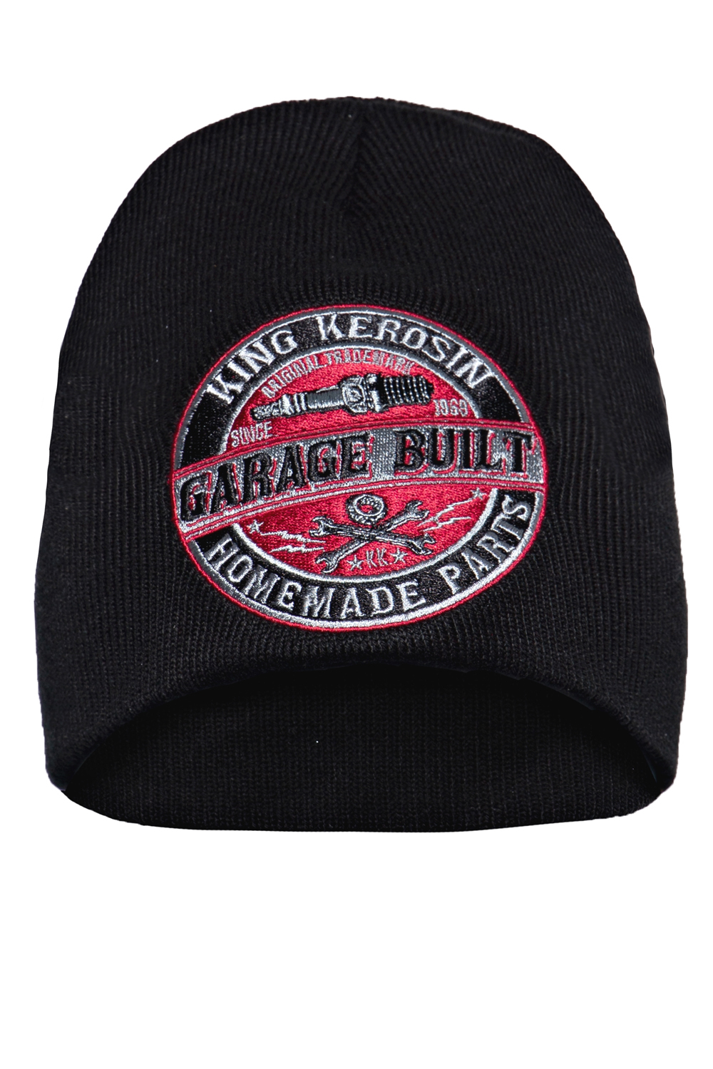 King Kerosin Mütze Strickmütze Stickerei Garage Built Rockabilly Biker Beanie