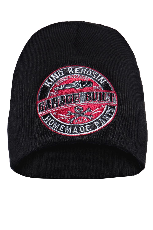 King Kerosin Mütze Strickmütze Stickerei Garage Built Rockabilly Biker Beanie