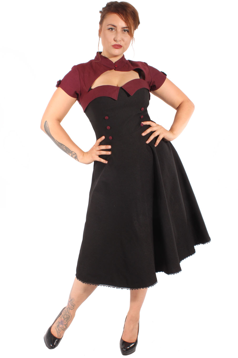 Retro Uniform rockabilly Petticoatkleid Bolero Swing Kleid burgund
