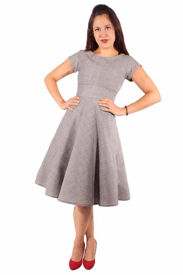 Retro Pepita Rockabilly Karo Glencheck Petticoatkleid Swing Kleid