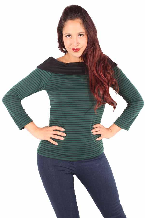 Streifen Rockabilly Carmen Kragen Shirt Longsleeve Sweater grün-schwarz