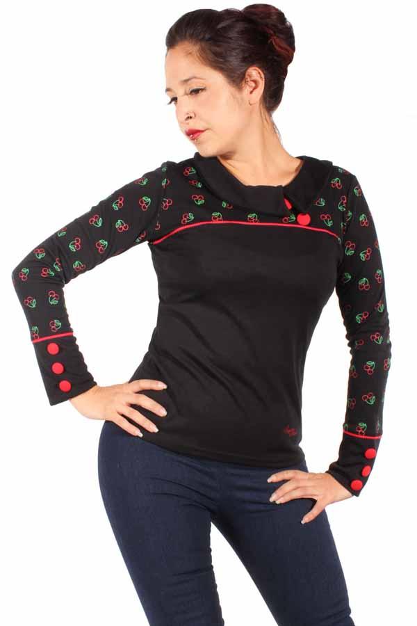 60s Cherry Rockabilly Corsagen Kirschen Shirt Longsleeve Sweatshirt