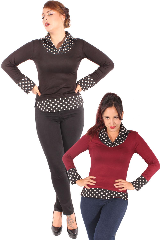 2tone Polka Dots Rockabilly langarm Shirt Punkte Bluse Longsleeve