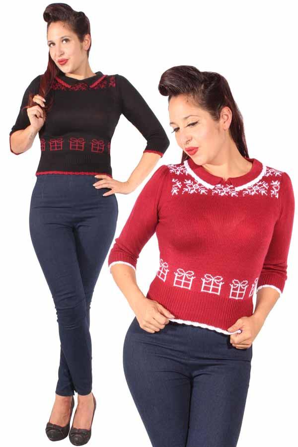 retro Geschenke Pullover Kurzpulli Strickpullover Weihnachtspullover