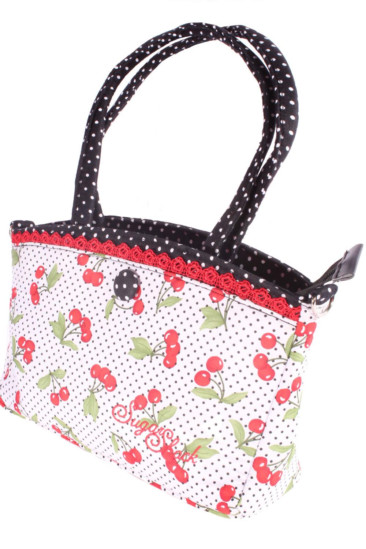 retro Polka Dots Kirschen Henkeltasche rockabilly Cherry Punkte Handtasche