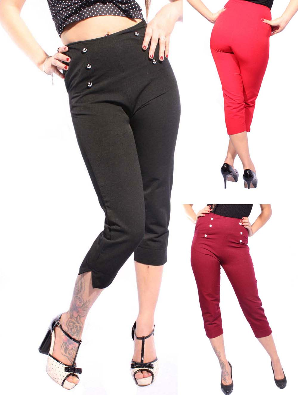 50er retro pin up rockabilly high waisted uniform caprihose capri hose ebay. Black Bedroom Furniture Sets. Home Design Ideas