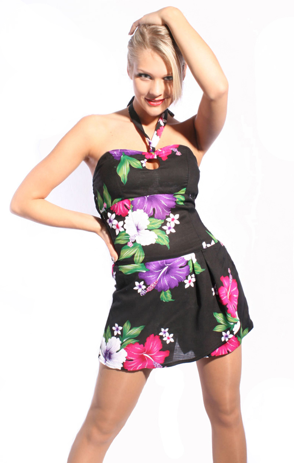 Fifties Hawaii Blüten Hibiskus pin up Neckholder Playsuit Jumpsuit Overall