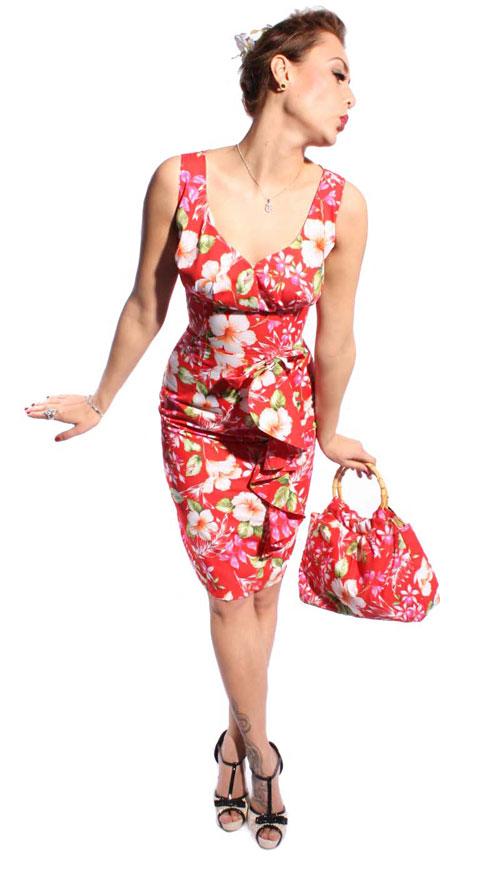 hawaii bl ten hibiskus flower rockabilly bleistift kleid. Black Bedroom Furniture Sets. Home Design Ideas