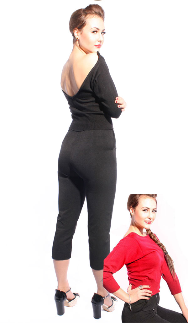 40er Jahre RETRO Strick vintage Shirt Pullover Strickpulli Rückenfrei