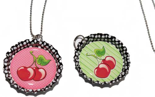 POLKA DOTS Cherry Kronkorken rockabilly Kirschen Bottle Cap Halskette
