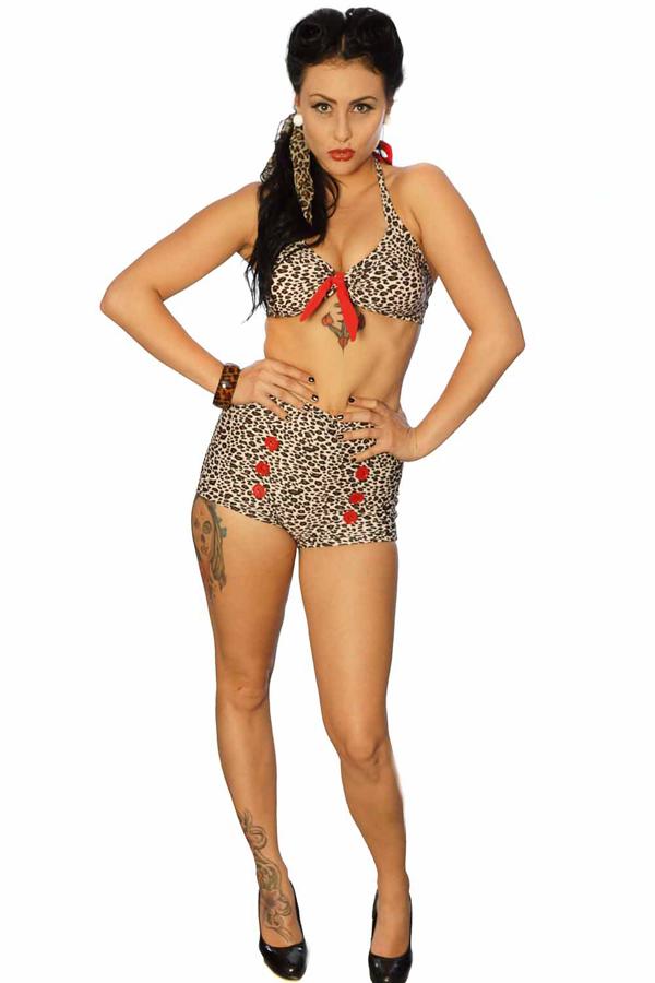 Leoparden retro pin up 40s/50s LEO Rockabilly high waisted Panty Bikini
