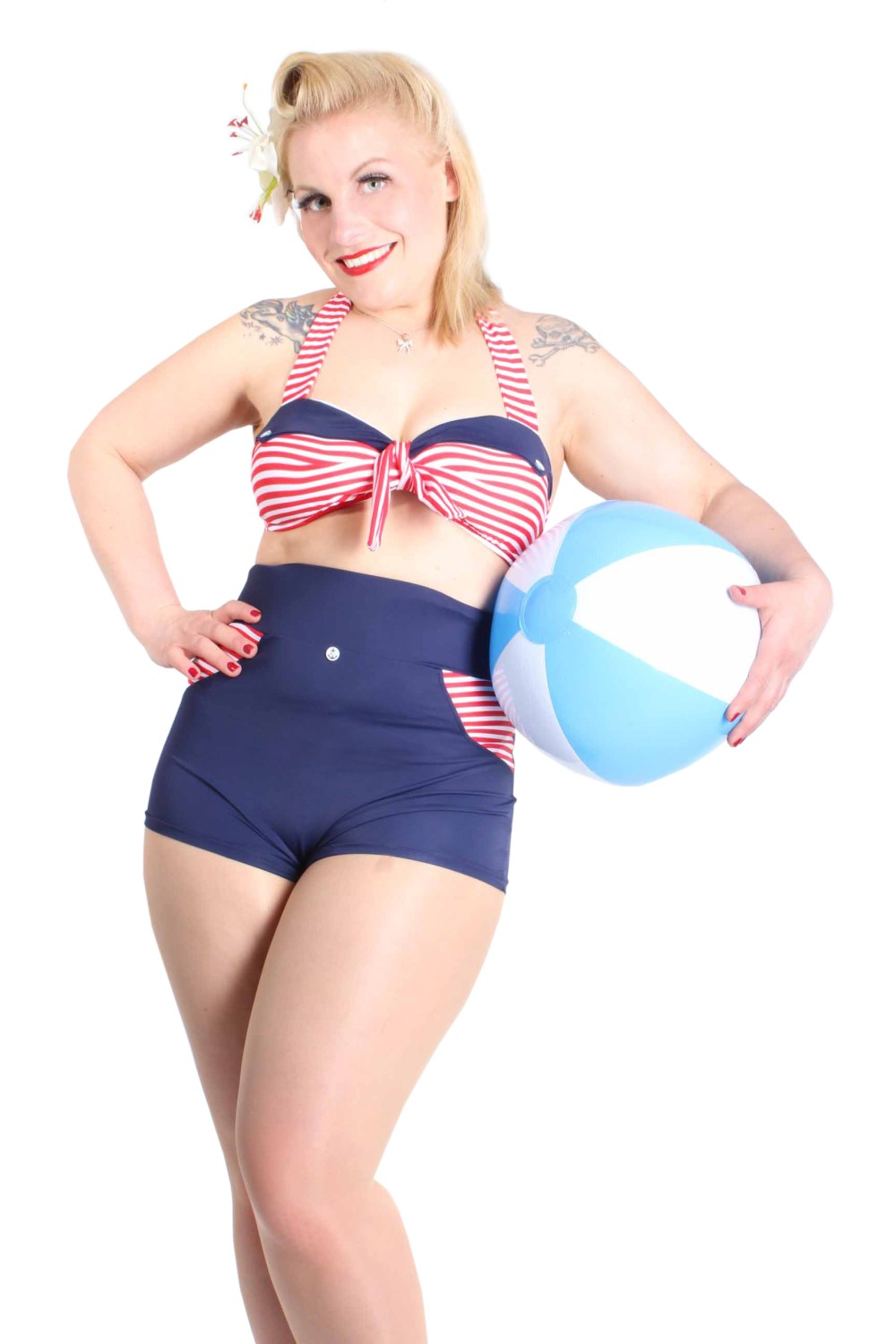 Uniform Sailor STREIFEN pin up Matrose Rockabilly high waist Bikini marineblau