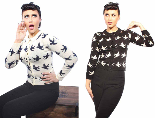 vintage Schwalben rockabilly RETRO Swallow Strick Cardigan Weste