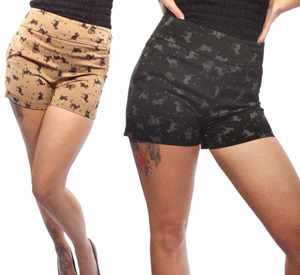 Vintage Retro Katzen PIN UP Kitty High Waist Hot Pants Hose Shorts