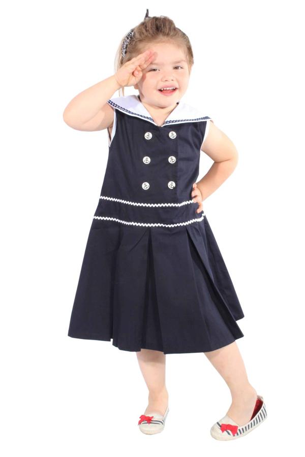 Kids Sailor Matrosen 50er rockabilly Seemannskragen Kinder Mädchen Kleid