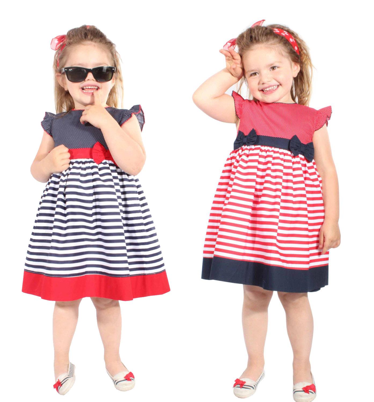 Striped Kids 50er Jahre POLKA DOTS rockabilly Streifen Mädchen Kleid