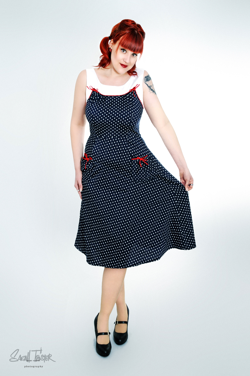 40s 50s retro polka dots vintage rockabilly a line kleid. Black Bedroom Furniture Sets. Home Design Ideas