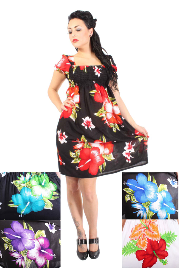 Hibiskus Blüten Hawaii Flower Carmen Puffärmel Blumen Strand Kleid