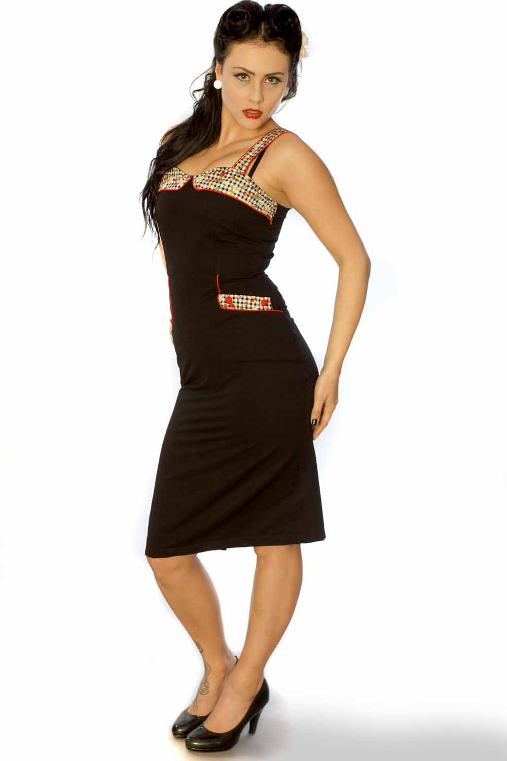 50er retro Pin Up Träger Gingham Karo Pencil Bleistift Kleid schwarz