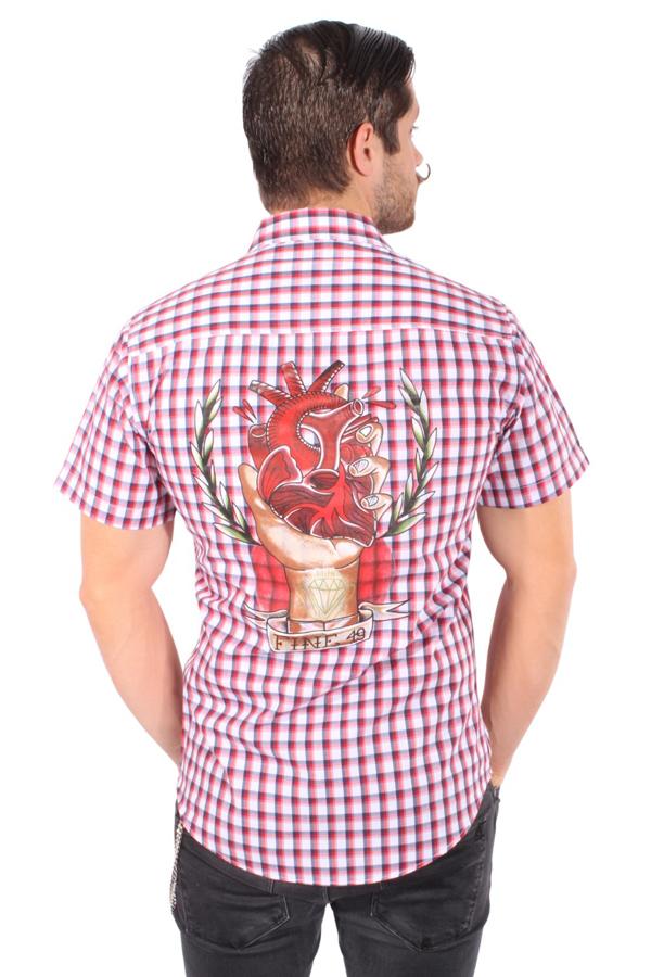 rockabilly Heart traditional oldschool Tattoo Style Karo Worker Hemd