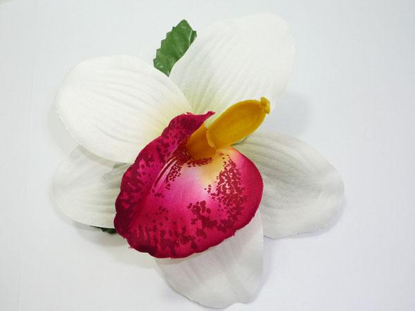 Orchidee Hibiskus Blüte Hawaii TIKI Haarspange pin up weiß-pink
