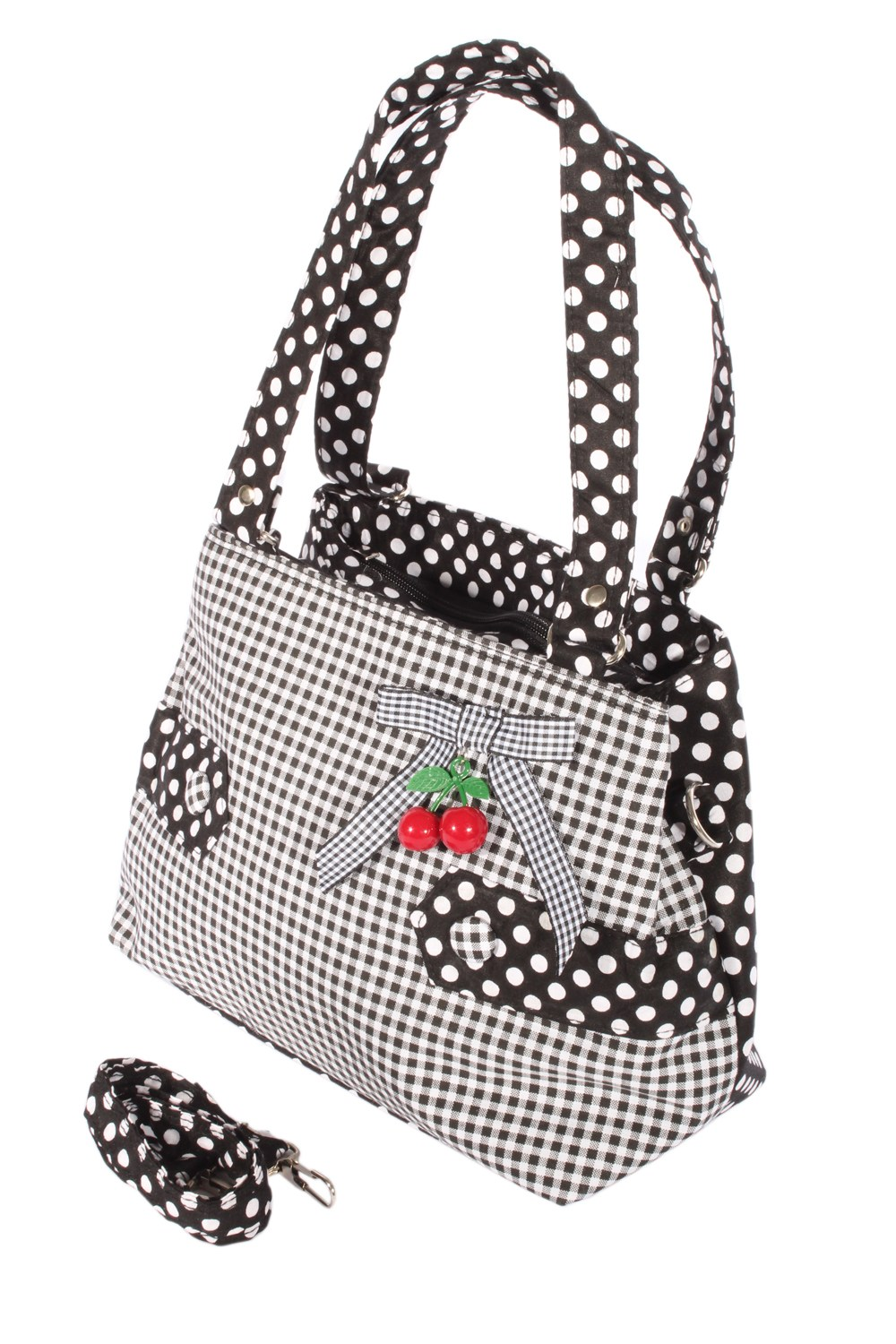 Gingham Uniform Polka Dots rockabilly RETRO Kirschen Handtasche Tasche
