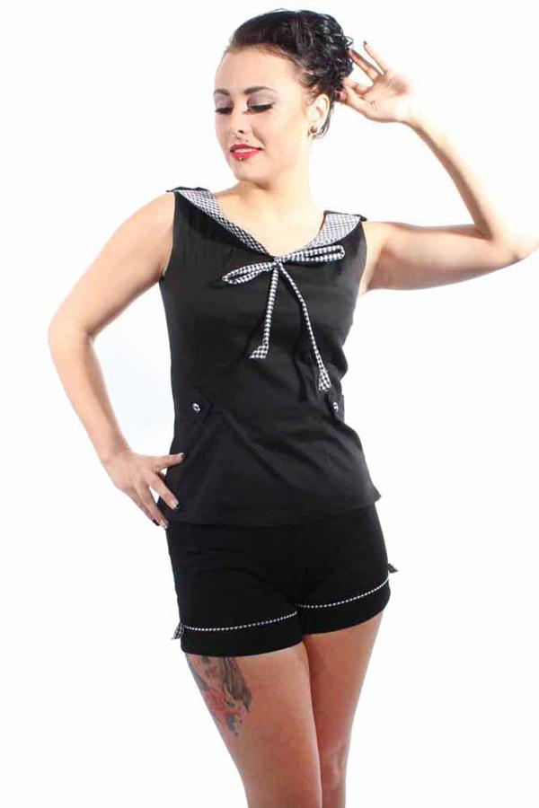 Gingham Bubikragen Rockabilly pin up Zierklappen Karo Corsage Shirt TOP