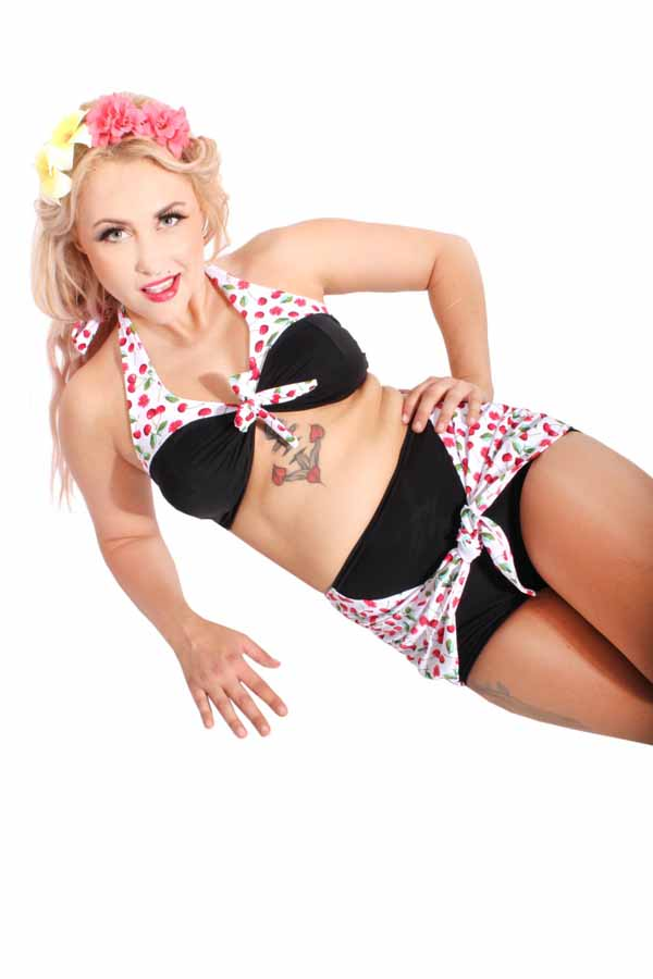50s Cherry pin up retro rockabilly Kirschen Wickel-Optik Panty Bikini