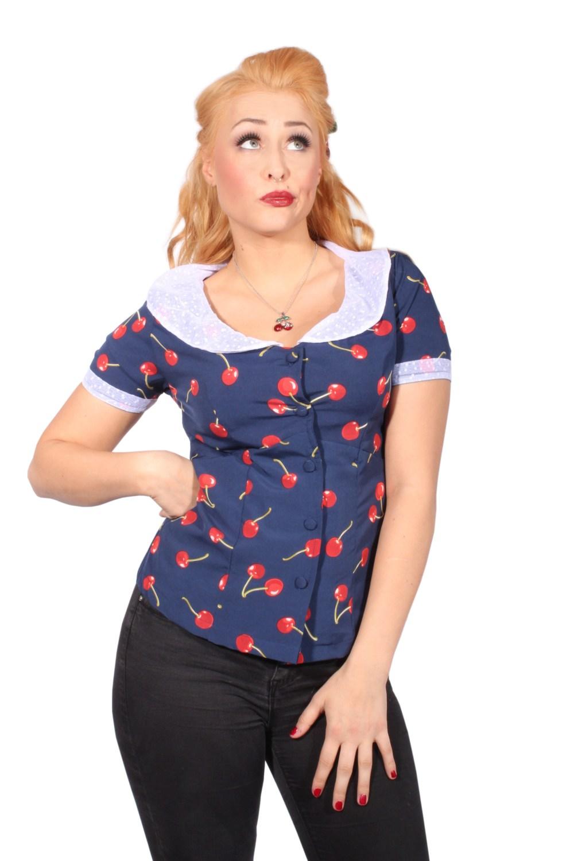 40s Cherry Rockabilly retro Netzkragen Krawatte Kirschen Bluse blau