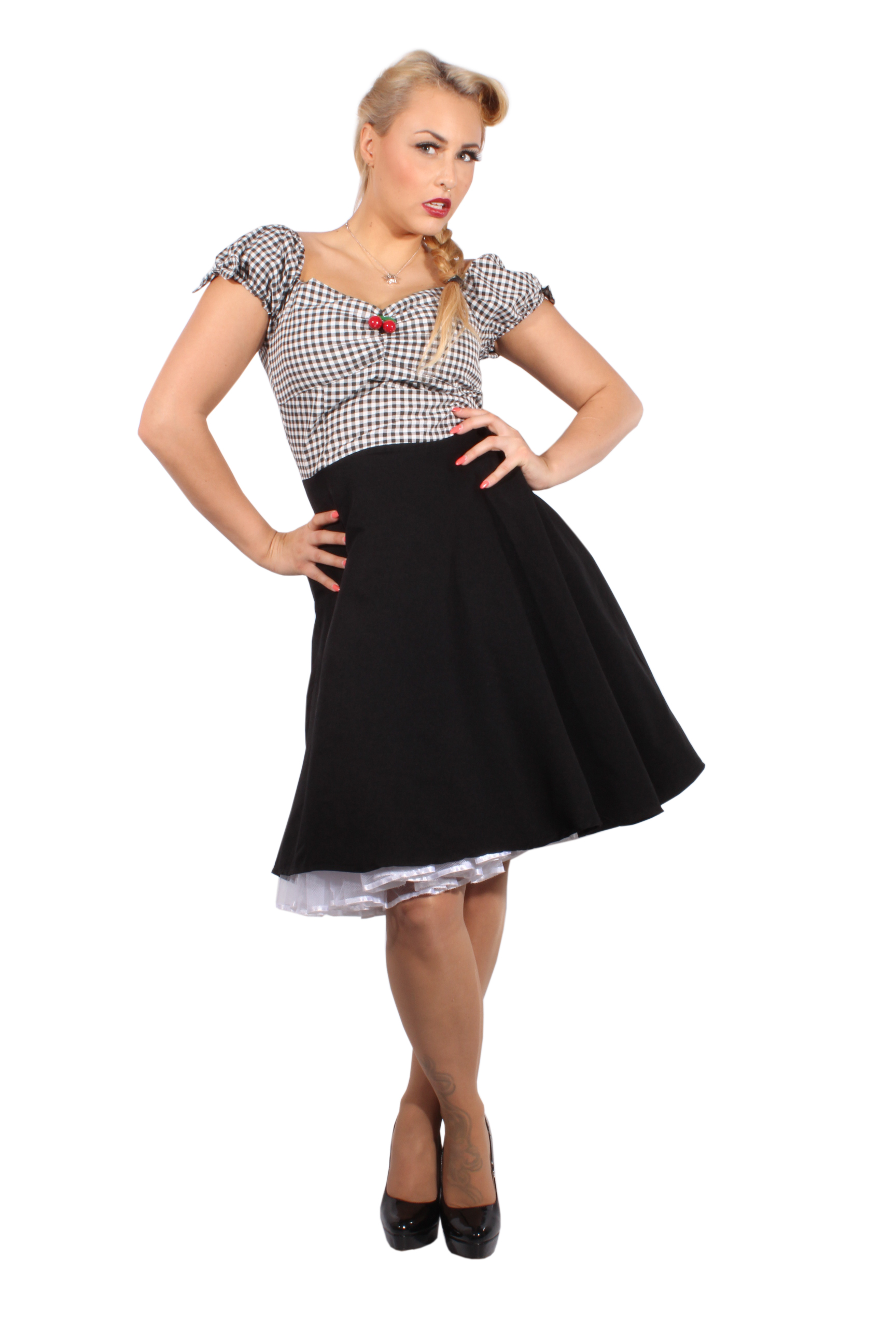 Black Gingham rockabilly Cherry Carmen Swing Karo Kleid Petticoatkleid