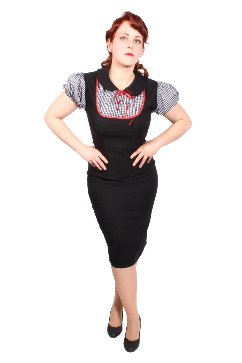 retro GINGHAM Pin Up Rockabilly Karo Pencilkleid Bleistift Kleid schwarz