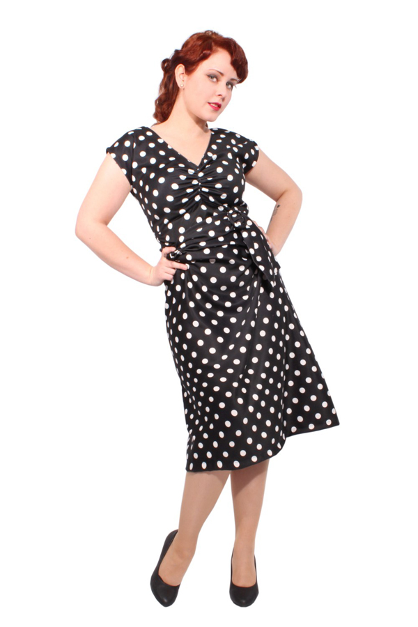 langes Polka Dots rockabilly Punkte A-Linie Wickel retro A-Form Kleid
