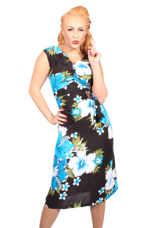 Hawaii Hibiskus Blüten rockabilly A-Linie Coconut Wickel Sommer Kleid
