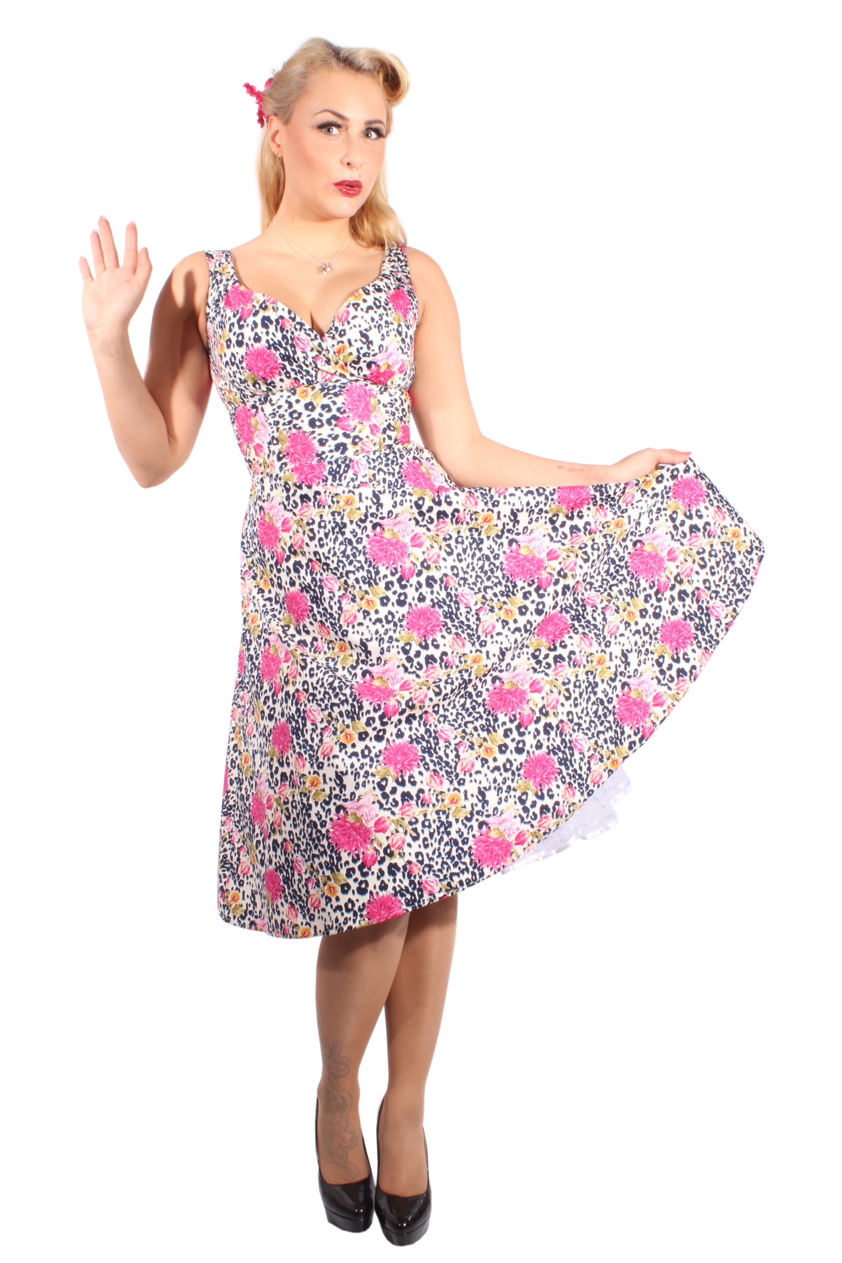 Leoparden rockabilly Rosen SWING Leo Flower Kleid Petticoatkleid