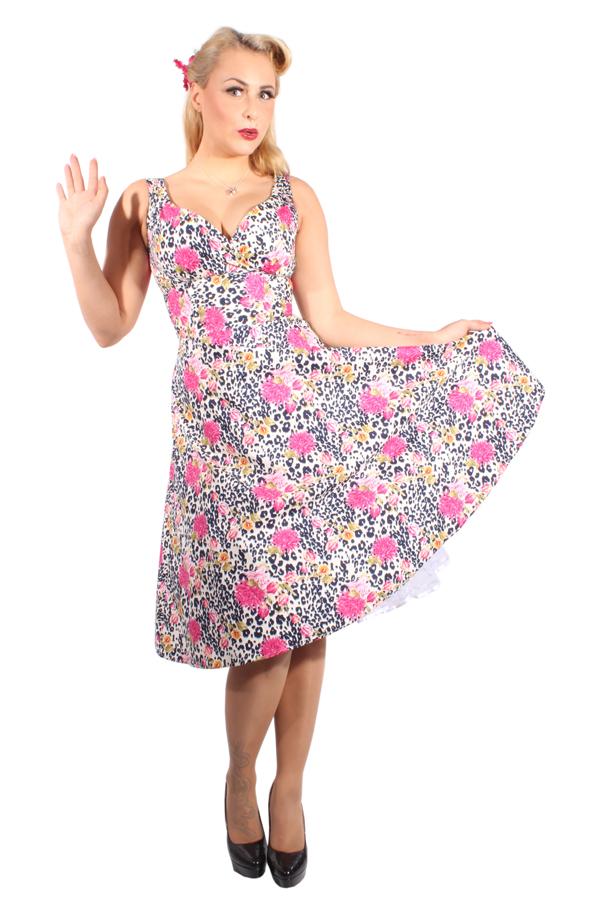 Leoparden rockabilly Rosen SWING Leo Flower Kleid Petticoatkleid