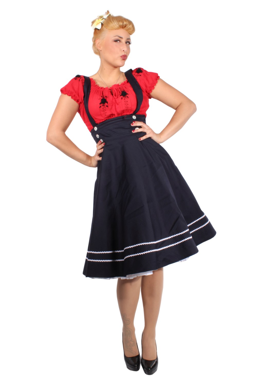 RETRO Sailor rockabilly Hosenträger Anker SWING ROCK Tellerrock Rock