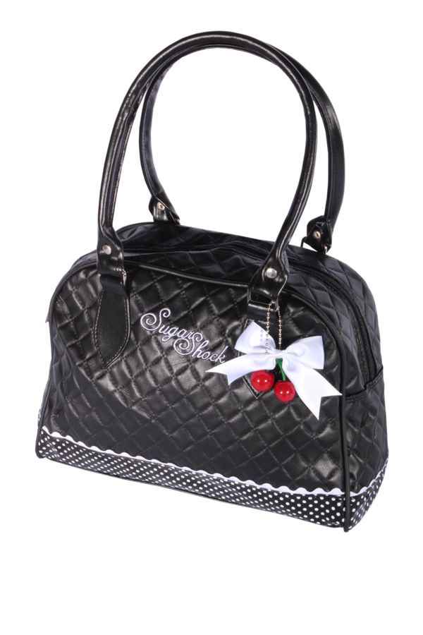 Polka Dots Rüschen Cherry Bow rockabilly Bowling gesteppt Handtasche Tasche