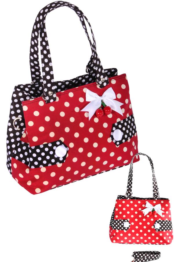 Polka Dots Uniform rockabilly RETRO Kirschen Handtasche Tasche