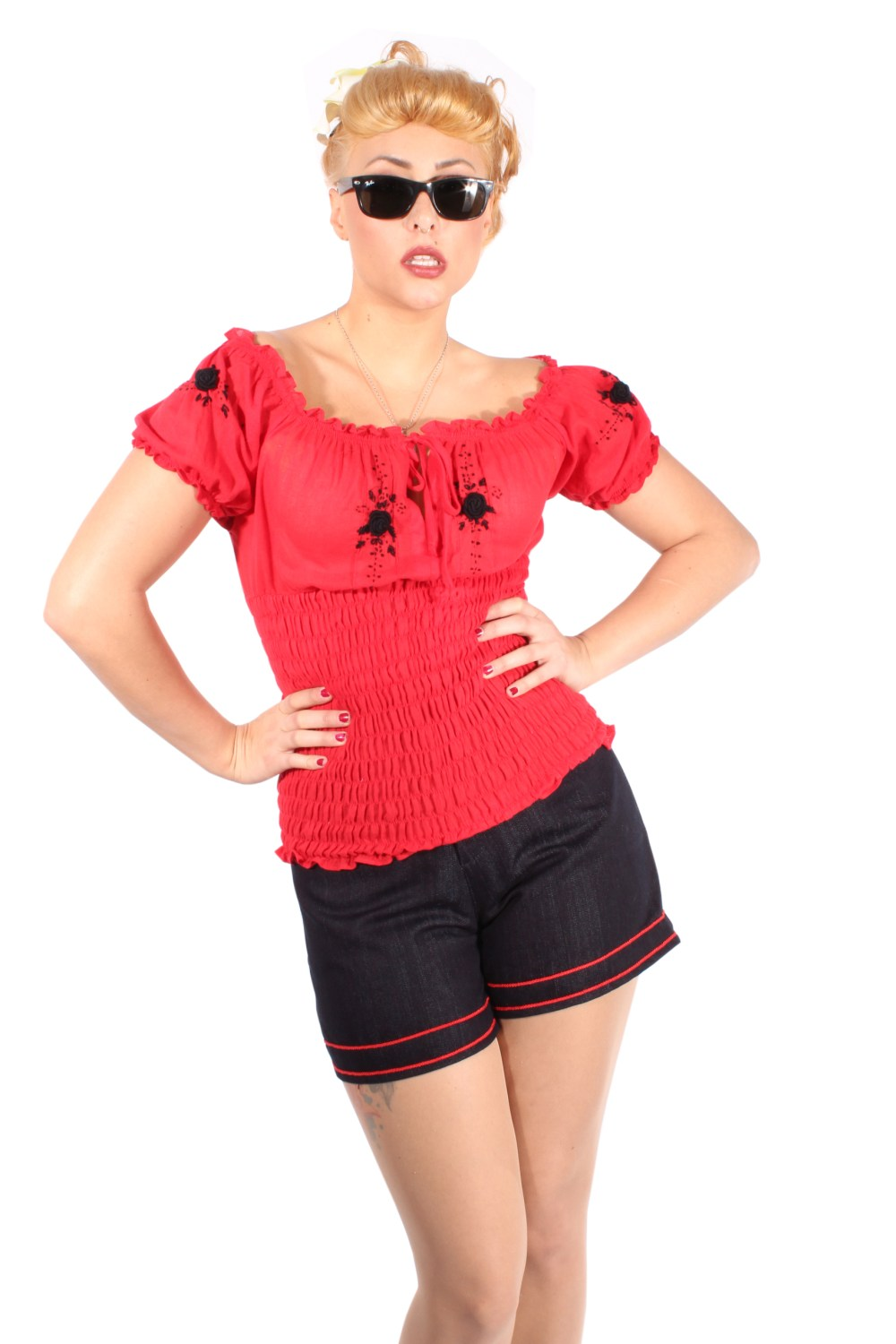 Flower Rockabilly pin up Puffärmel Carmen Stretch Blüten TOP rot